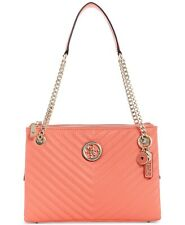 GUESS BLAKELY STATUS LUXE SATCHEL CORAL/GOLD NWT!