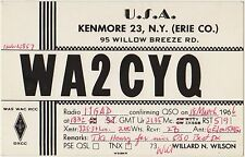 QSL KENMORE N.Y.ERIE COUNTY UNITED STATES USA RADIO AMATORI CARD 1966