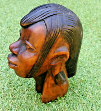 Vintage African Hand carved Wooden Head of a beautiful long necked woman
