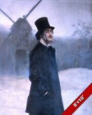 THE ABSINTHE WORMWOOD DRINKER 1800'S MAN TOP HAT PAINTING ART REAL CANVAS PRINT