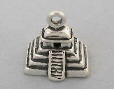 AZTEC MAYAN PYRAMID Solid Sterling Silver 925 Charm Pendant 3D 4236