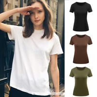 Women Solid Color Short Sleeve Blouse Summer Casual Slim Fit Tops T Shirt S-2XL