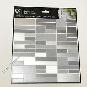 "Peel Stick 8""x8"" Art Wall Tile Linear Mosaic Backsplash SILVER GRAY Made in USA"