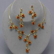 Golden rose necklace set crystal diamante jewellery earrings sparkly proms 0208