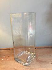 CLEAR GLASS SQAURE TALL VASE - MODERN
