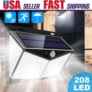 208 LED PIR Motion Sensor Solar Power Garden Light Outdoor Waterproof Wall Lamp
