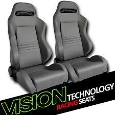 T-R Type Gray Stitch PVC Leather Reclinable Racing Bucket Seats+Sliders L+R V07