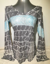 "Beautiful Women's Juniors ""T Party"" Gray and Blue Bell Sleeves Lace Shirt Sz. L"