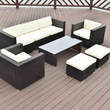 8 PCS Outdoor Patio Rattan Wicker Furniture Set Sofa Cushioned Garden Brown New