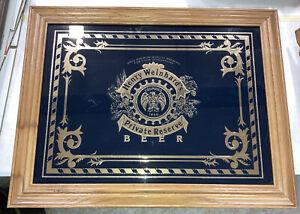 "Henry Weinhard's Beer Bar Sign Framed Blue & Gold Wood Private Reserve 27""X21"""