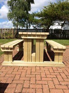 Belstone Wooden Bench - Heavy Duty Outdoor Wooden Walk In Picnic Table