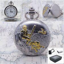 Silver Gold Antique Hunter Design Cover Men Big Pocket Watch Fob Chain Box P28