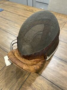 Antique Fencing Mask  Switzerland Leather Accents Great  Fencing Collectible