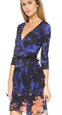 NWTS $478+ Diane von Furstenberg DVF RIVIERA Floral Daze Blue Silk Wrap Dress 10
