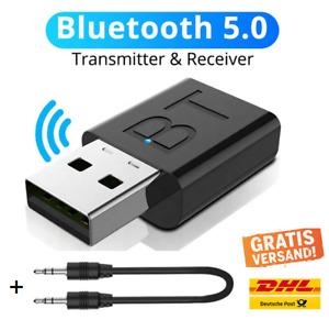 2in1 Bluetooth Adapter Sender + Empfänger USB 3,5mm Klinke TV PC AUX Audio 5.0 ✅