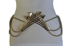 Women Belt Fashion Hip High Waist Gold Metal Chains Arrows Buckle Charm XS S M