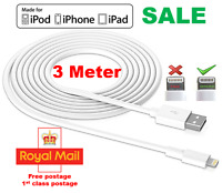 Extra Long 3M USB LEAD SYNC DATA CABLE CHARGER FOR iPhone 6 PLUS 5 5S iPad UK