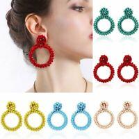 Fashion Handmade Crystal Beaded Earrings Women Ring Drop Dangle Ear Stud Jewelry