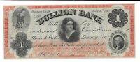 1862 $1 District of Columbia Bullion Bank Washington DC US Treasury Demand Note