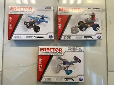 Erector Set Building Models Plane - Helicopter - Bulldozer - By Meccano