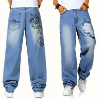 Plus Size Men's Jeans Baggy Fit Big Tell Denim Pants Casual Trouser Embellished