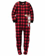 Carter's Boy Kids 1-PC MicroFleece Plaid Reindeer XMas Sleepwear Pajama PJ 8 NWT