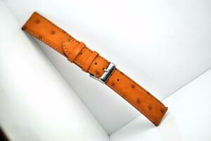 Genuine Ostrich Leather Watch Strap Handmade Italy to fit Rolex Omega Cartier