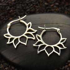 925 Sterling Silver Hoop Earrings Lotus Flower Petal Inset Geometric Design 652