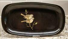 """Vintage Couroc of Monterey 12.5"""" x 6.5"""" Inlaid Wood & Brass Birds Black Tray"""