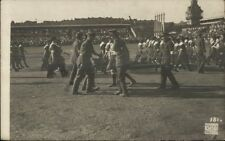 Sokol Games Prague Czech - Moving Wounded c1920 Real Photo Postcard