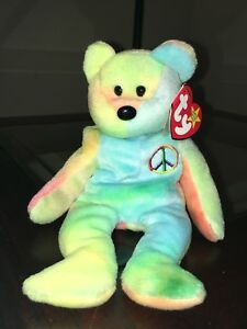 """1996 Ty """"Peace"""" Beanie Baby Retired - RARE TAG ERRORS AND PVC PELLETS"""