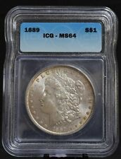1889  MORGAN SILVER DOLLAR, ICG GRADED MS64  WOW..BEAUTIFUL LUSTER, TONED COIN