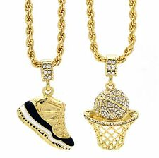 "Gold Plated HipHop Retro 11 ""Concord"" & Cz Basketball Pendant 4mm 24"" Rope Chain"