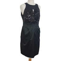 STAR Julien Macdonald Dress UK 14 Black Fitted Satin Sequin Party Tie Waist