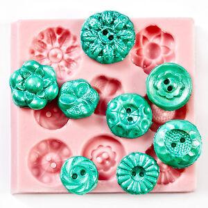 Silicone Button Mold - fondant button mold, chocolate mold, clay mold (704)