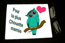 """Chiffonnette essui lunettes """"Pour la plus chouette Mamie"""" mod 2 Fête grand mères"""