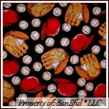 BonEful Fabric FQ Cotton Quilt Black Red Brown Baseball Glove Hat Sport Boy Ball