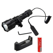 6000LM GREEN LED Tactical Flashlight Light+Picatinny Rail Mount Pressure Switch