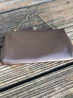 Vintage 50s 60s Dark Brown Leather Clutch Purse Evening Bag Gold Strap Clasp