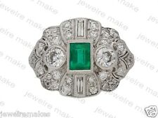 Green Emerald Diamond Art Deco 925 Sterling Silver Engagement and Wedding Ring