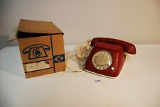 C132 Vintage Retro Phone FEUER NOTRUF germany LUXE EN CUIR leather ROUGE GRENAT