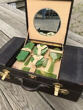 Vintage Train Case With Brush Mirror Accessories Macys New York 1924