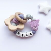 Baby Silicone Ring - Teething Rattle - Crochet Teether - Chew Toy - Lilac