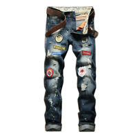 Mens Retro Embroidered Jeans Patch Denim Pants Washed Frayed Straight Trousers