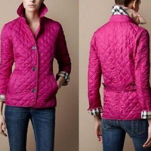Burberry brit women's fucshia copford diamond quilted jacket