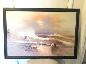 Large Seaside Seagull Oil On Canvas Vintage  Painting Framed And Signed