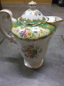 "Paragon Vintage Pompadour Green Coffee Pot RARE 7.25"" tall Lid a/f"