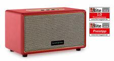 Retro Vintage Bluetooth Lautsprecher Leder Optik drahtlos Stereo MP3 USB AUX Rot