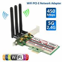 Gigabit 450Mbps Wireless WiFi PCI-E Network Card LAN Adapter+Antennas 2.4G/5G