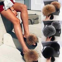 Women's Fluffy Slippers Fox Fur Slides Fuzzy Furry Comfort Sandals Summer Shoes